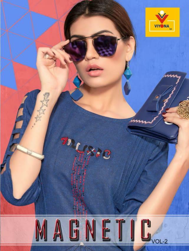 Viyona Nx Magnetic Vol 2 Designer Cotton Embroidered Daily Wear Kurtis Wholesale
