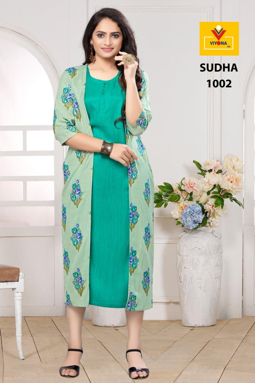 Viyona Nx Sudha Designer Rayon Stitch Office Wear Kurtis Wholesale