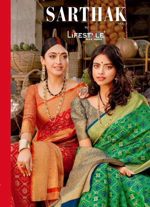 Lifestyle Sarthak Vol 3 Designer Patola Rich Pallu Partywear Sarees Wholesale