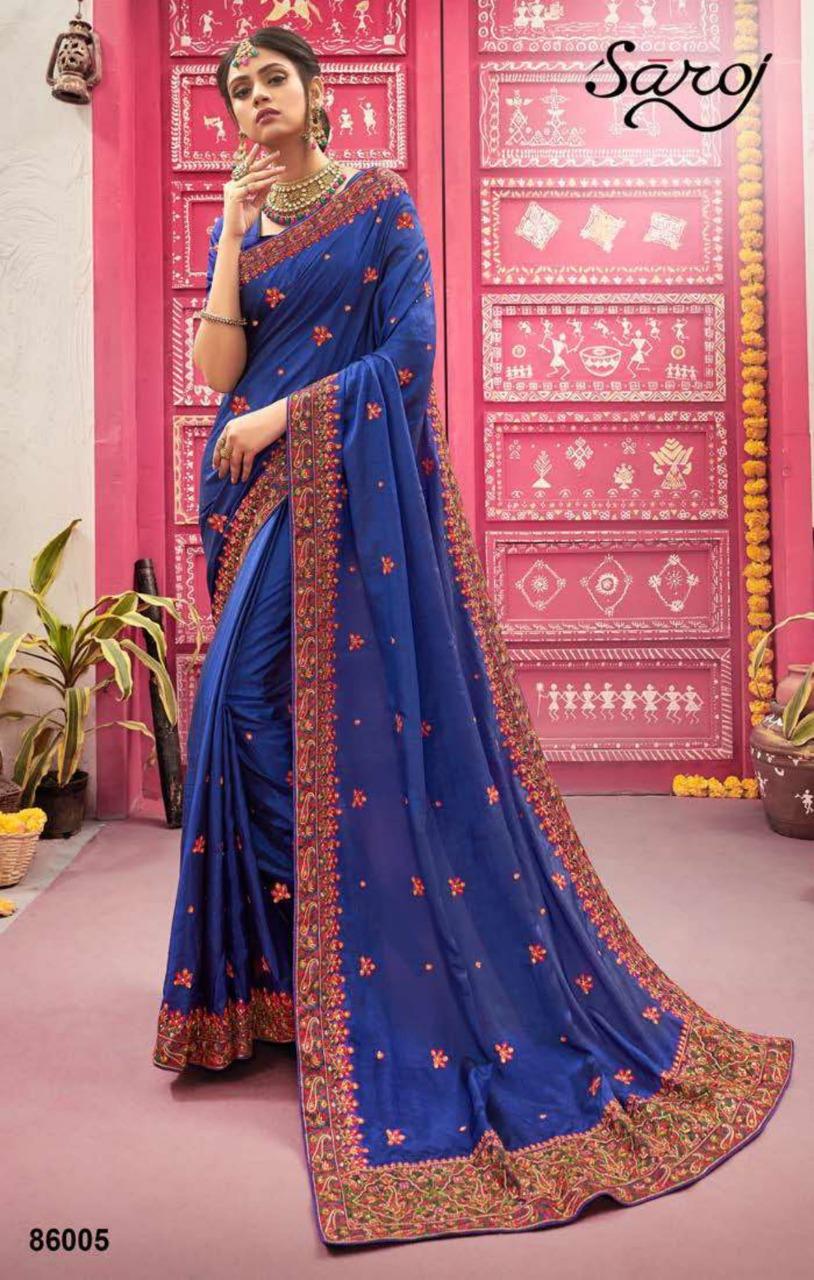 Saroj Saree Latika Designer Sana Silk With Heavy Border Wedding Wear Sarees In Wholesale Rate