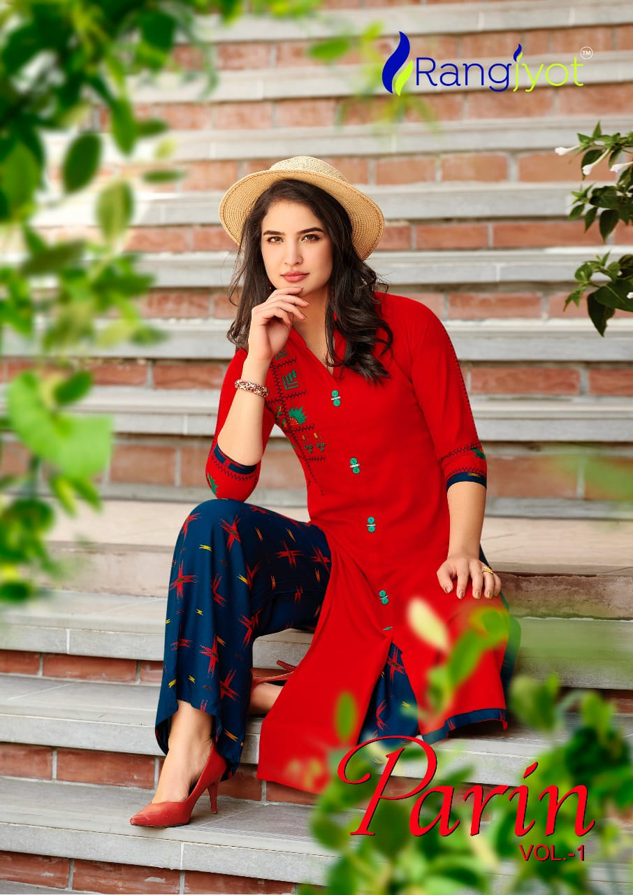 Rang Jyot Parin Vol 1 Designer Embroidery Work With Rayon Stitch Premium Quality Kurtis With Plazzo Wholesale