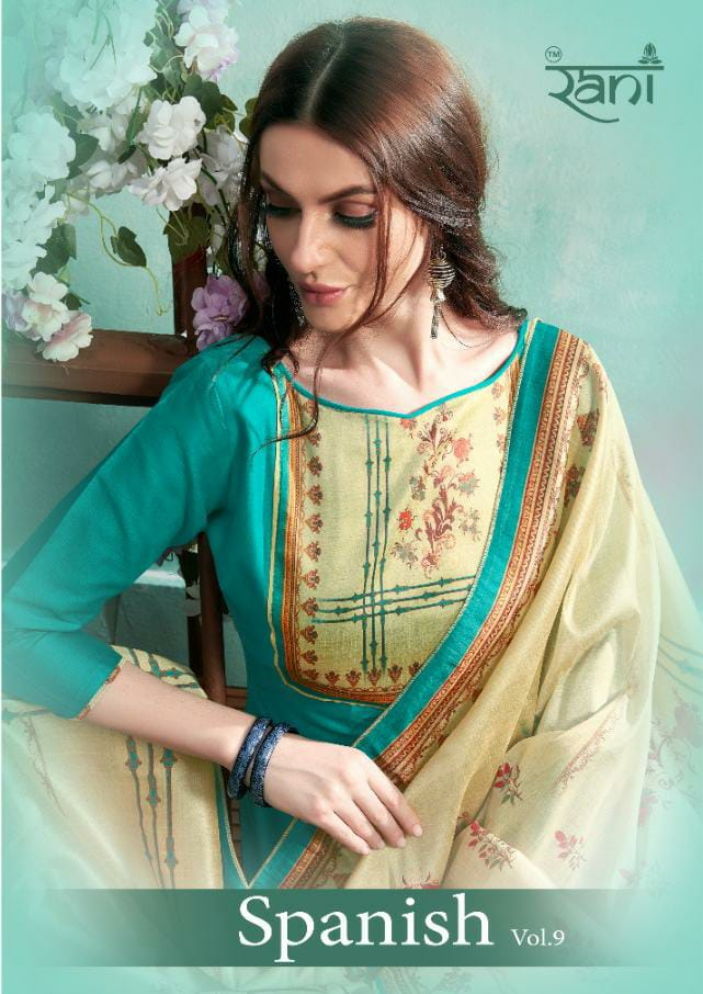 Rani Spanish Vol 9 Designer Cotton Sattin With Royal Print Suits In Best Wholesale Rate
