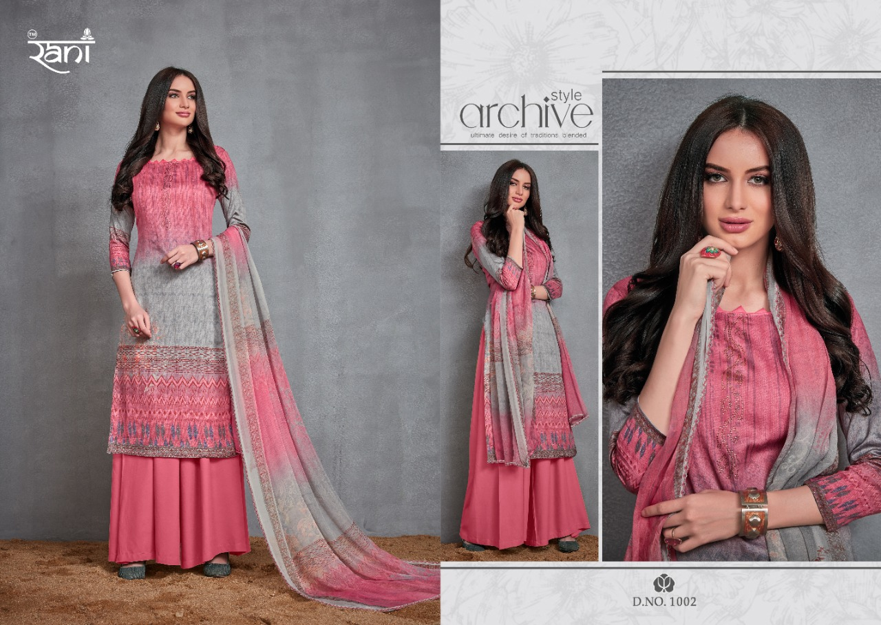 Rani Zara Designer Jaam Satin Digital Print With Swarovski Work Festival Wear Suits In Best Wholesale Rate