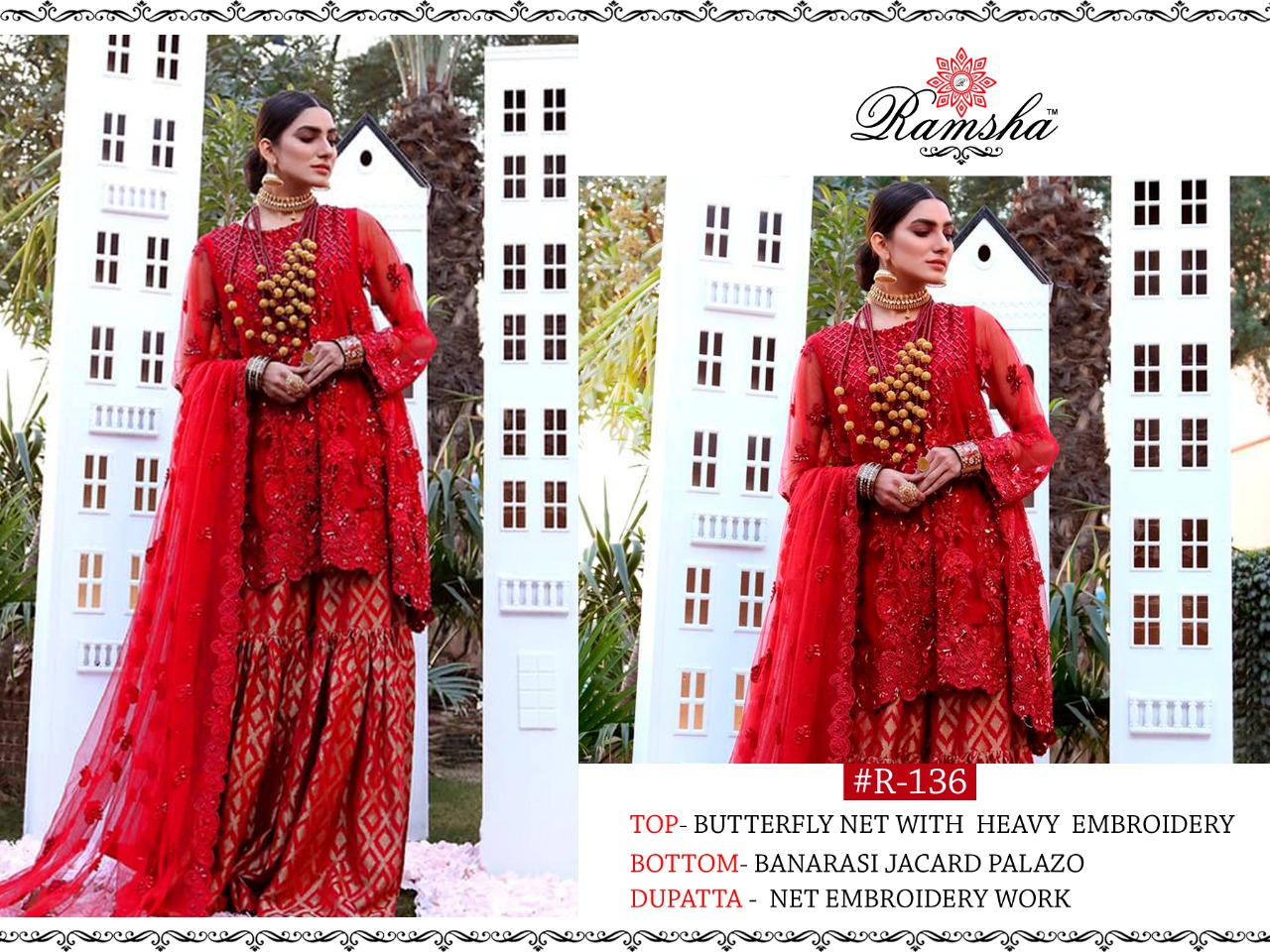 Ramsha R -136 Colour Nx Designer Butterfly Net With Embroidery Work Festival And Wedding Wear Suits In Best Wholesale Rate