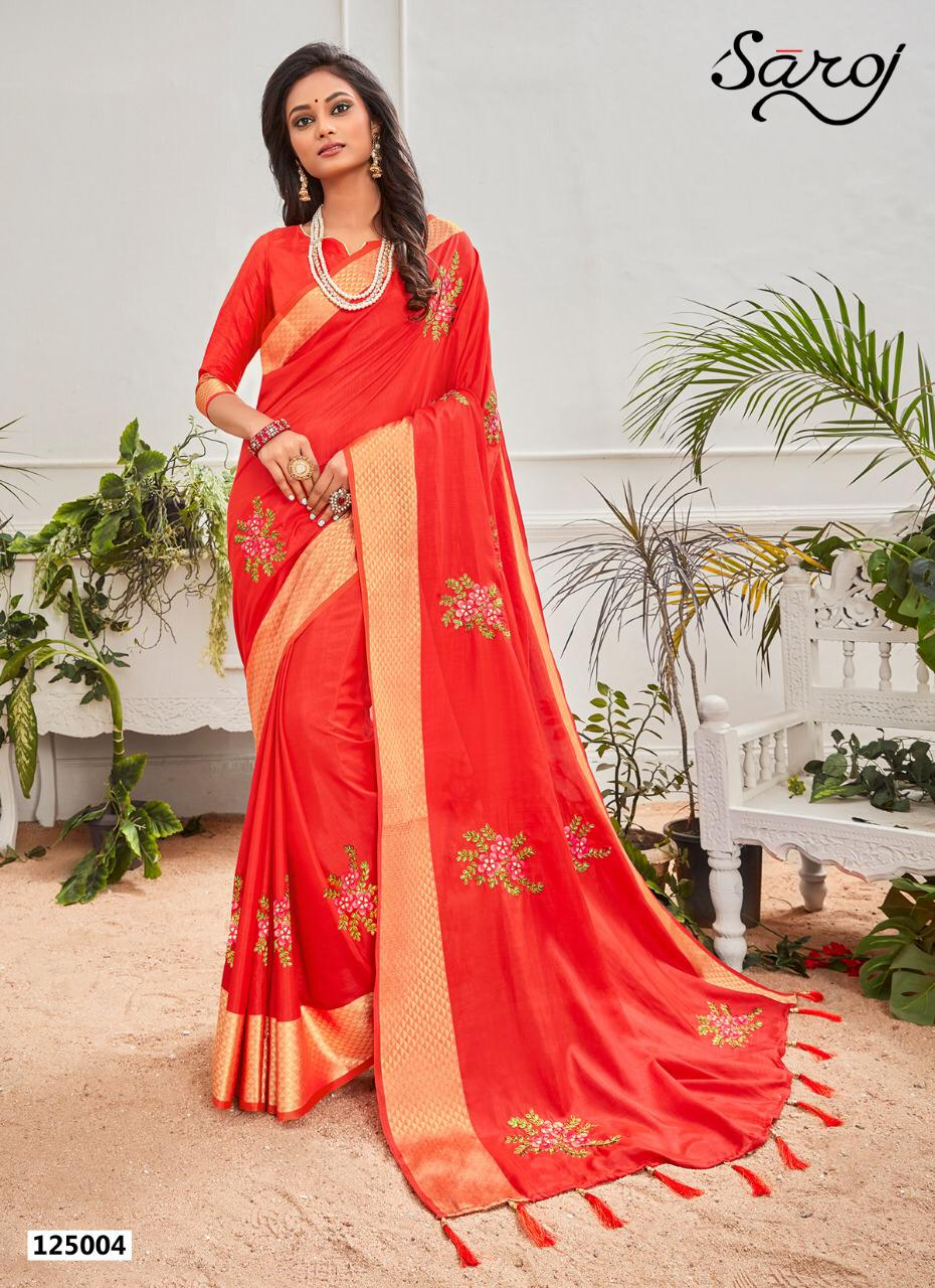 Heavy Embroidery Party Wear Designer Digital Print Sarees