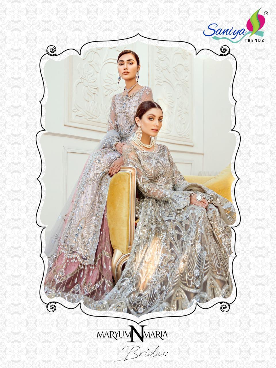 Saniya Trendz Maryum And Maria Designer Heavy Embroidery Bridal Wear Suits Wholesale
