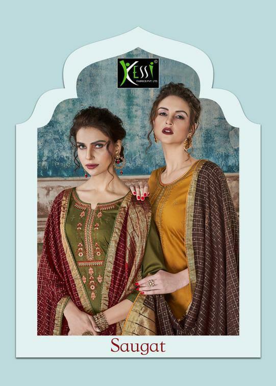Kessi Fabrics Saugat Embroided Swarovski Diamond Work Silk Suit Wholesale