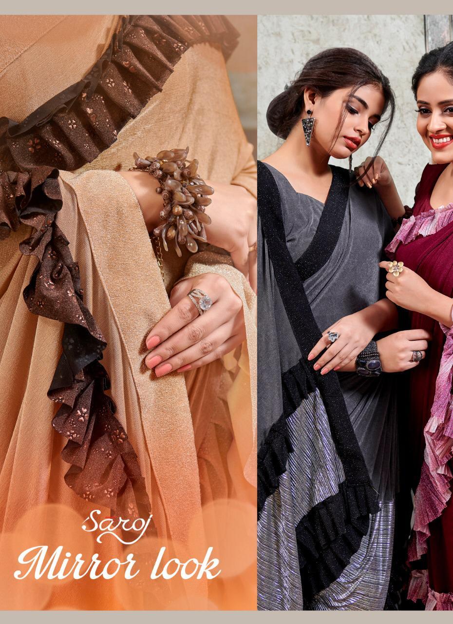 Saroj Saree Mirror Look Designer Partywear Sarees In Best Wholesale Rate