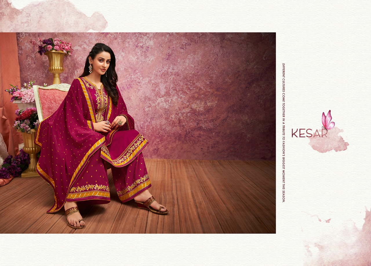 *aaa Kesar Jam Silk With Embroidery Work Festival Wear Suits In Best Wholesale Rate
