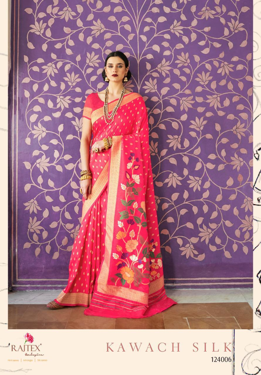 Raj Tex Kawach Silk Designer Handloom Silk Saree Festive Collection In Best Wholesale Rate