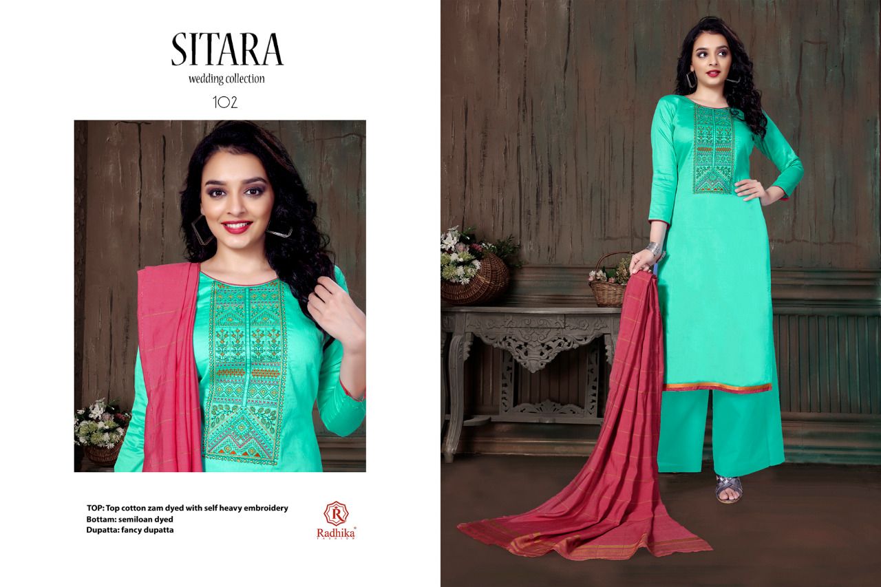 Radhika Fashion Sitara Designer Fancy Self Embroidery Jam Cotton Suits In Best Wholesale Rate
