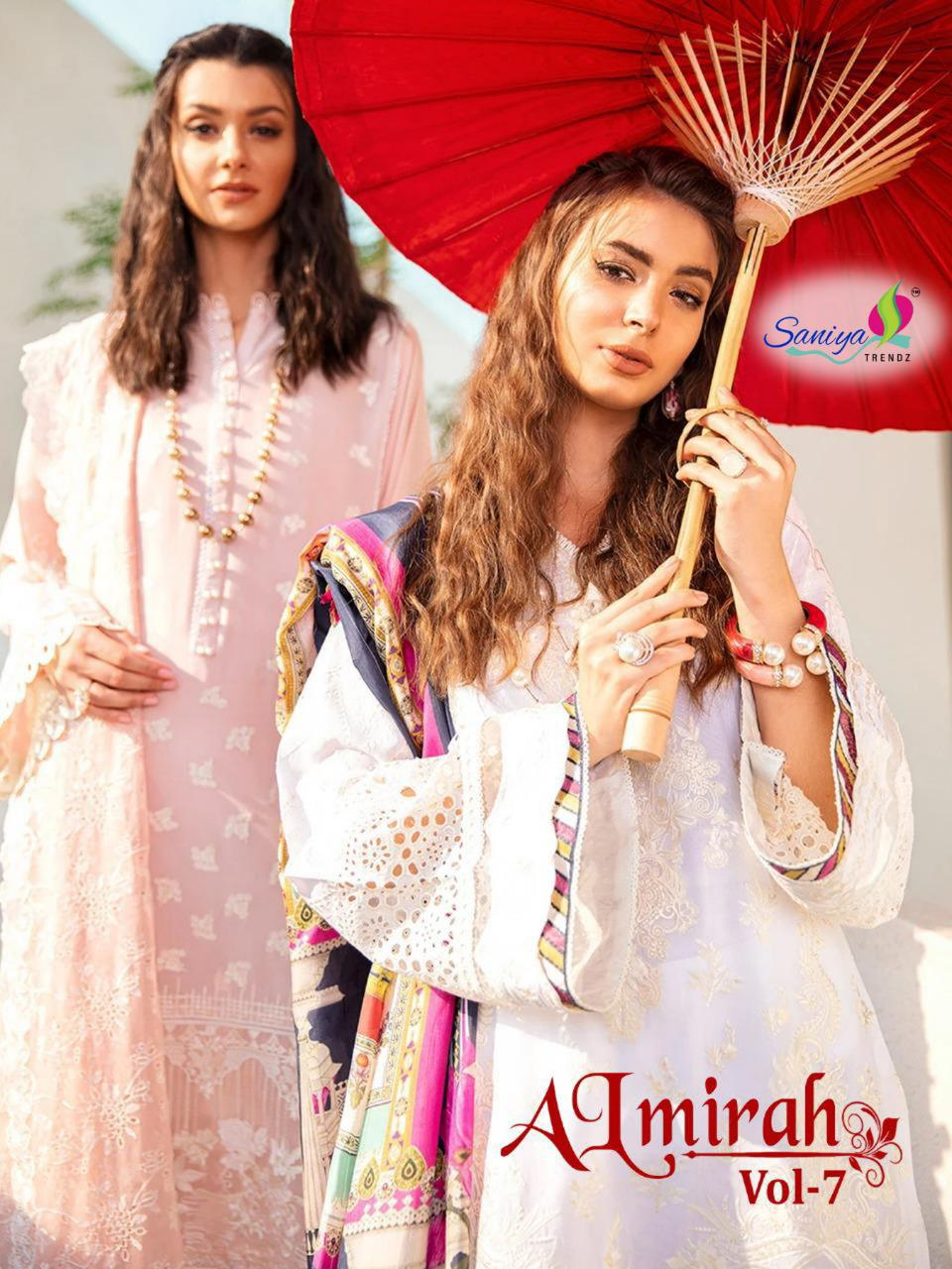 Saniya Trendz Almirah Vol 7 Designer Self Embroidery With Cotton Suits Festival Wear Suits In Best Wholesale Rate