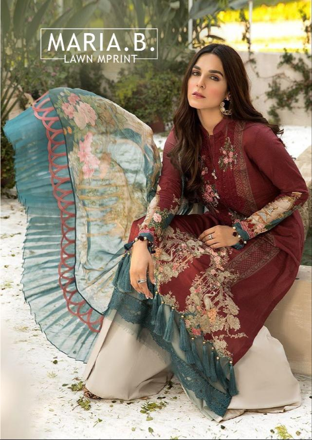 Saniya Trendz Maria B Lawn M Print Designer Embroidery Patches With Cambric Cotton Printed Suits In Best Wholesale Rate