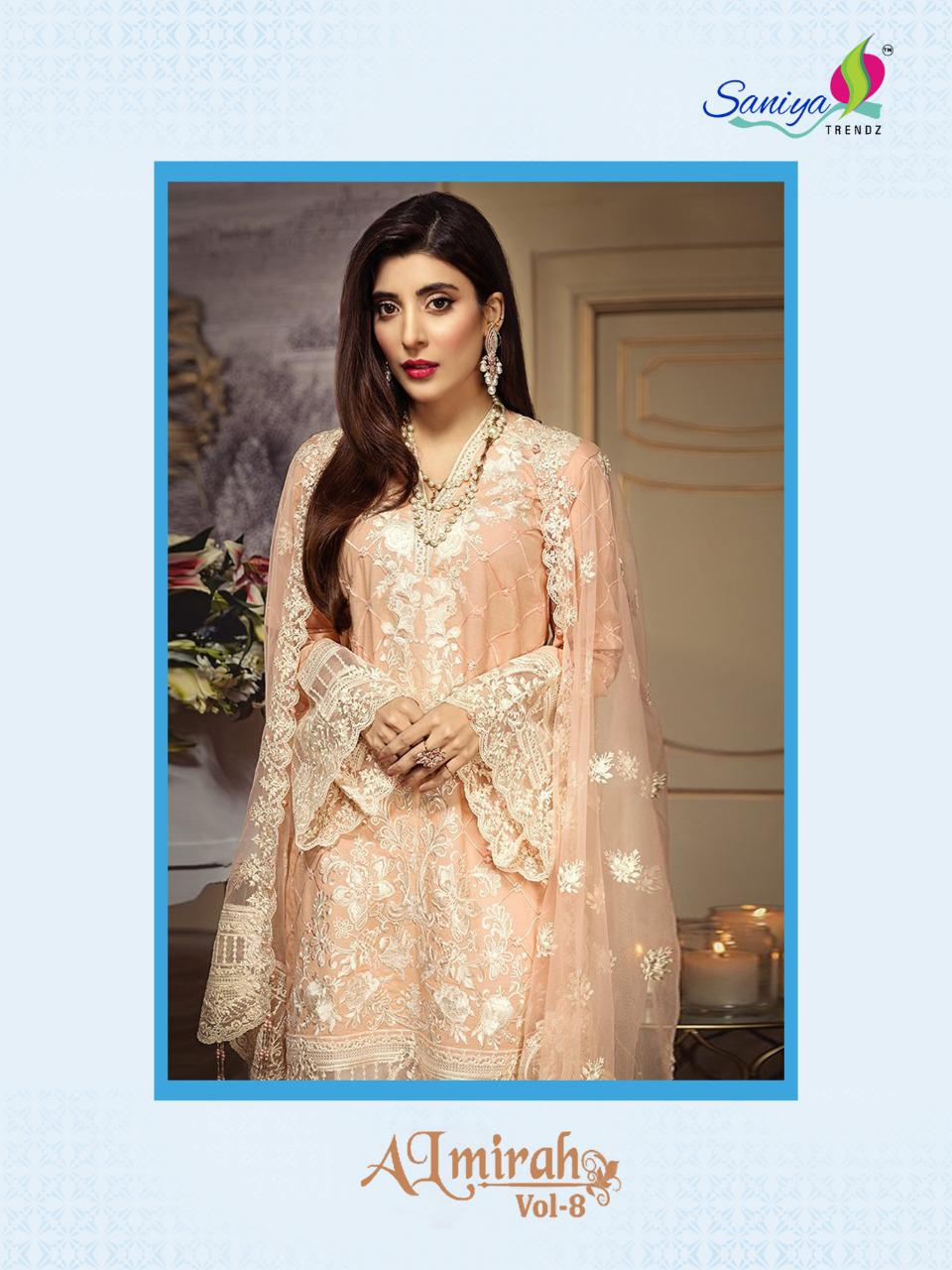 Saniya Trendz Almirah Vol 8 Designer Heavy Self Embroidery With Cotton Pakistani Replica Suits In Best Wholesale Rate