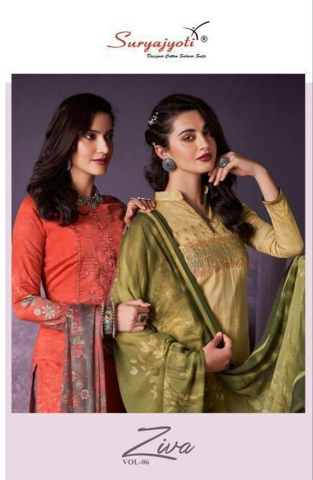 Suryajyoti Ziva Vol 6 Designer Work With Satin Cotton Daily Wear Suits In Best Wholesale Rate