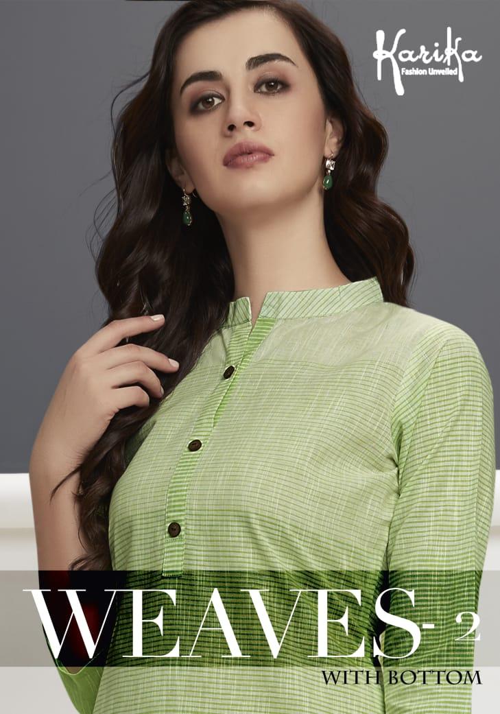 Karika Weaves 2 Pure Handloom Cotton Kurtis In Wholesale