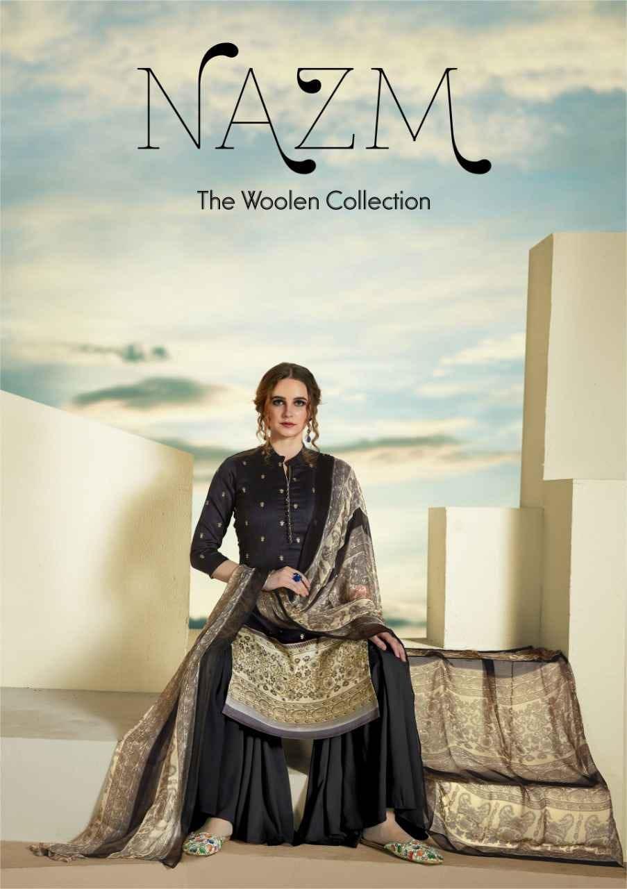 Sargam Prints Nazm Designer Pashmina Printed With Swarovski Work Winter Wear Suits Wholesale