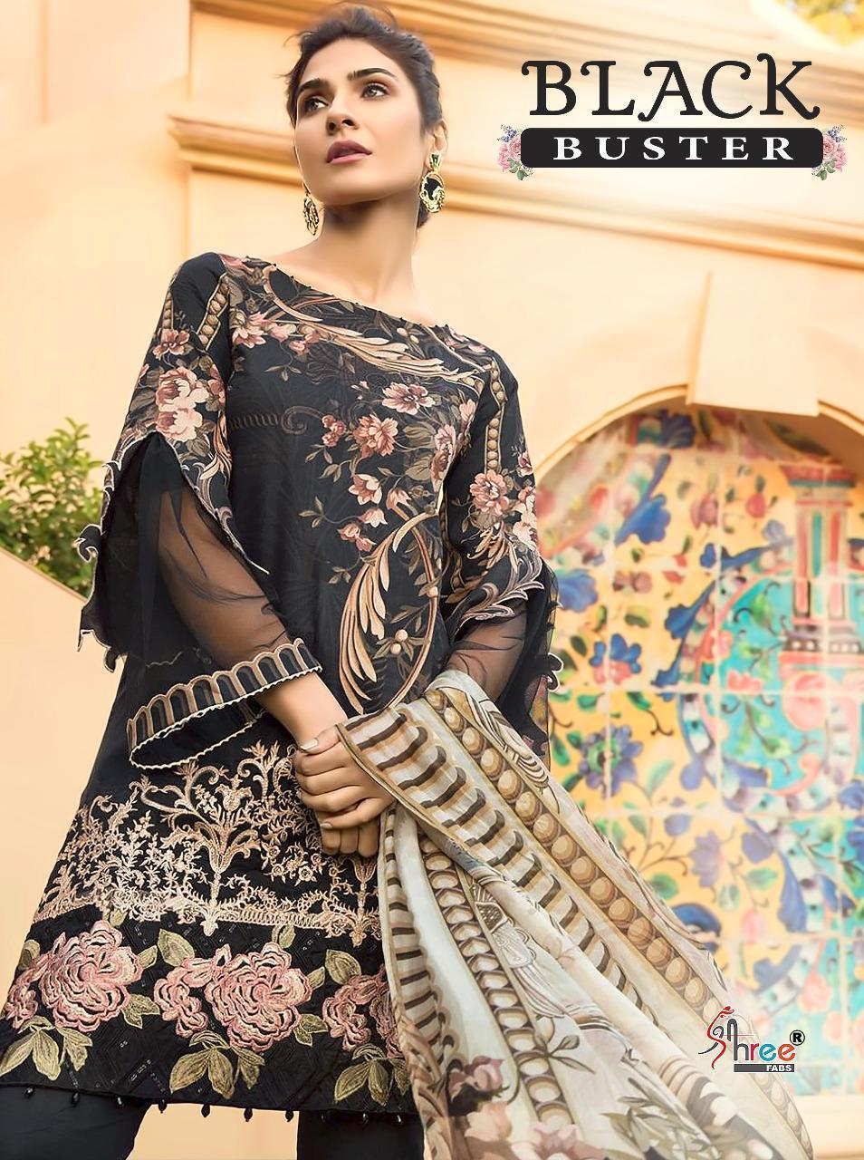 Shree Fab Black Buster Designer Cotton With Embroidery Work Suits In Lowest Price Wholesale