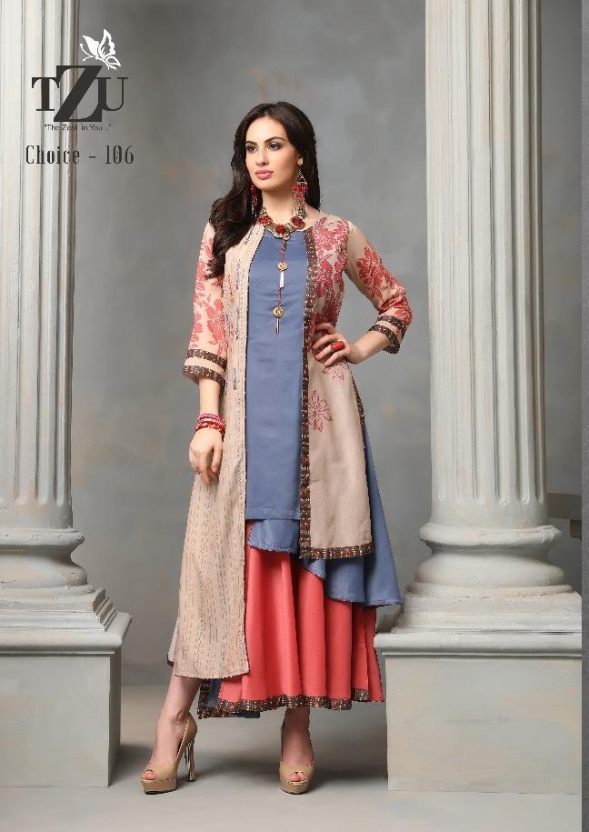 Tzu Lifestyle Choice Designer Muslin Silk And Georgette Floral Kurtis Best Wholesale