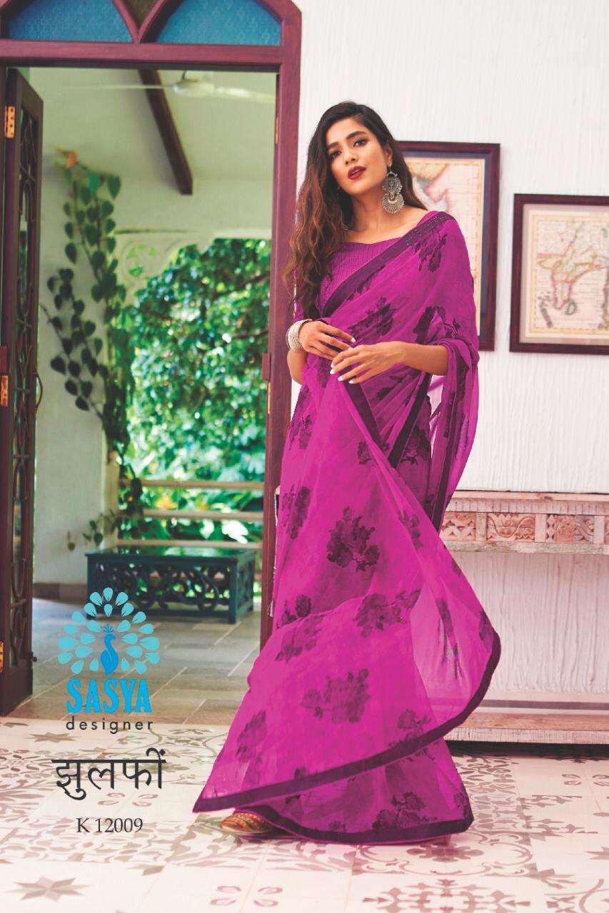 Sasya Zulfi Designer Georgette Print With Handwork Fancy Work Sarees Best Wholesale Rate