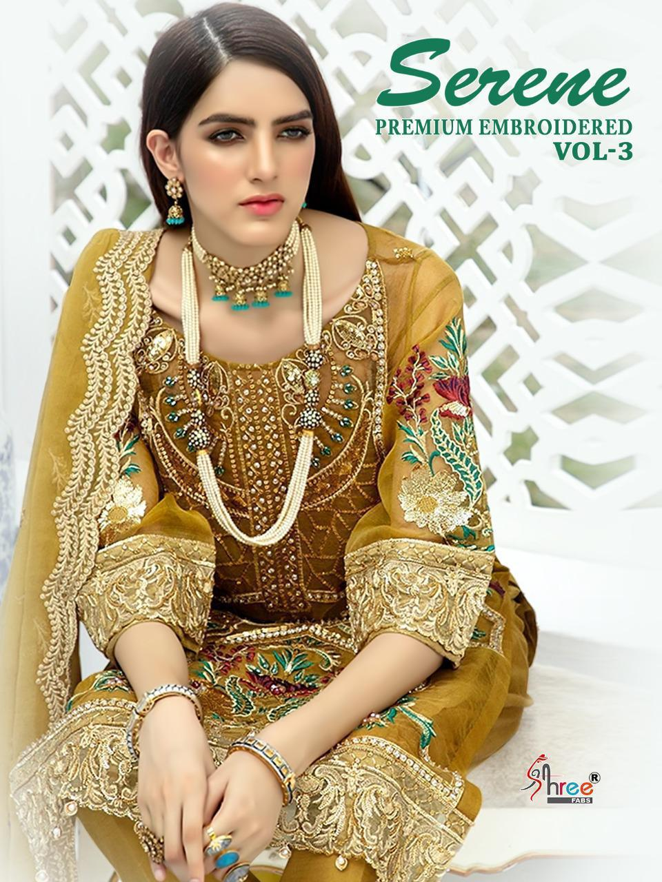 Shree Fab Serene Premium Embroided Vol 3 Designer Pakistani Replica Georgette Worked Suits In Best Wholesale Rate