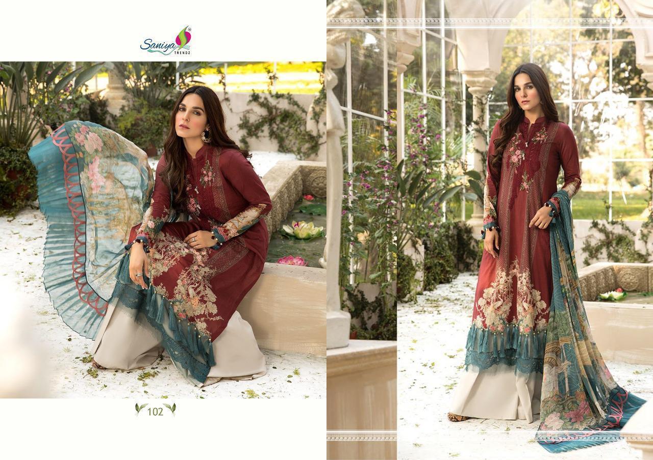 Saniya Trendz Mariya B Lawn M Print  Designer Luxury Lawn Collection In Singles