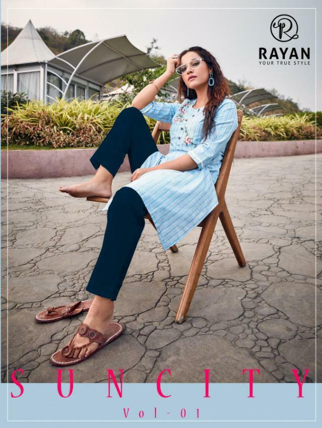 R Studio Rayan Sun City Heavy Cotton Embroidery Work Kurtis Wholesale