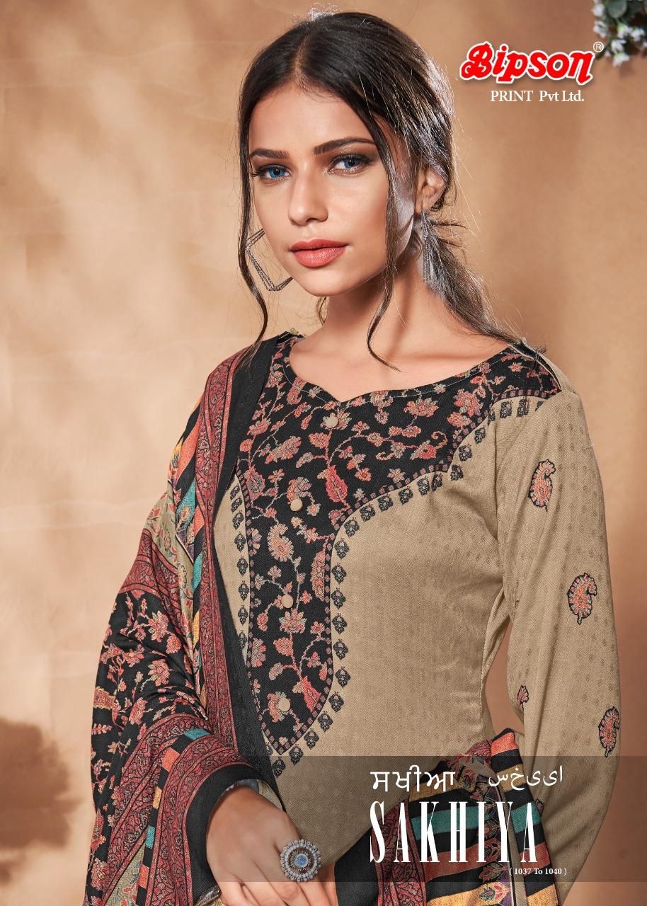 Bipson Sakhiya 1037 To 1040 Series Pashmina Digital Printed Suits Wholesale