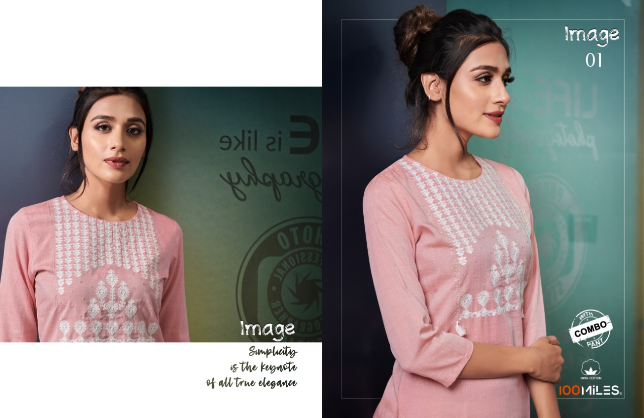 100 Miles Image With Bottom Combo Designer Embroidery Work Kurti With Pant Wholesale