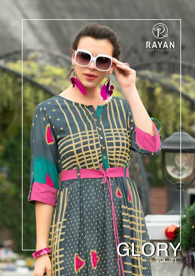 Rayan Glory Designer Rayon Printed Long Kurtis Wholesale