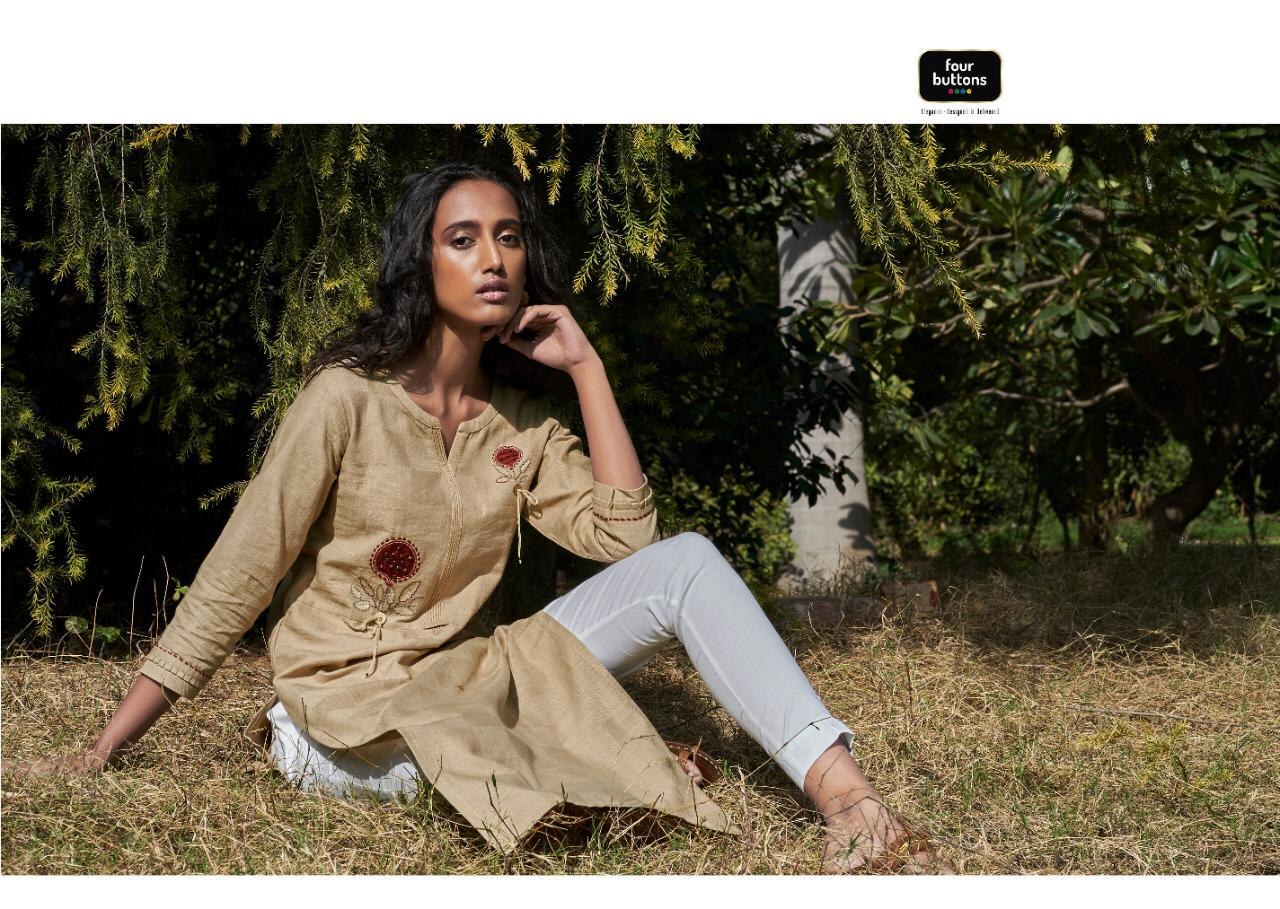 Four Buttons Colours 8 Heavy Pure Cotton With Fancy Embroidery Work Kurti Wholesale