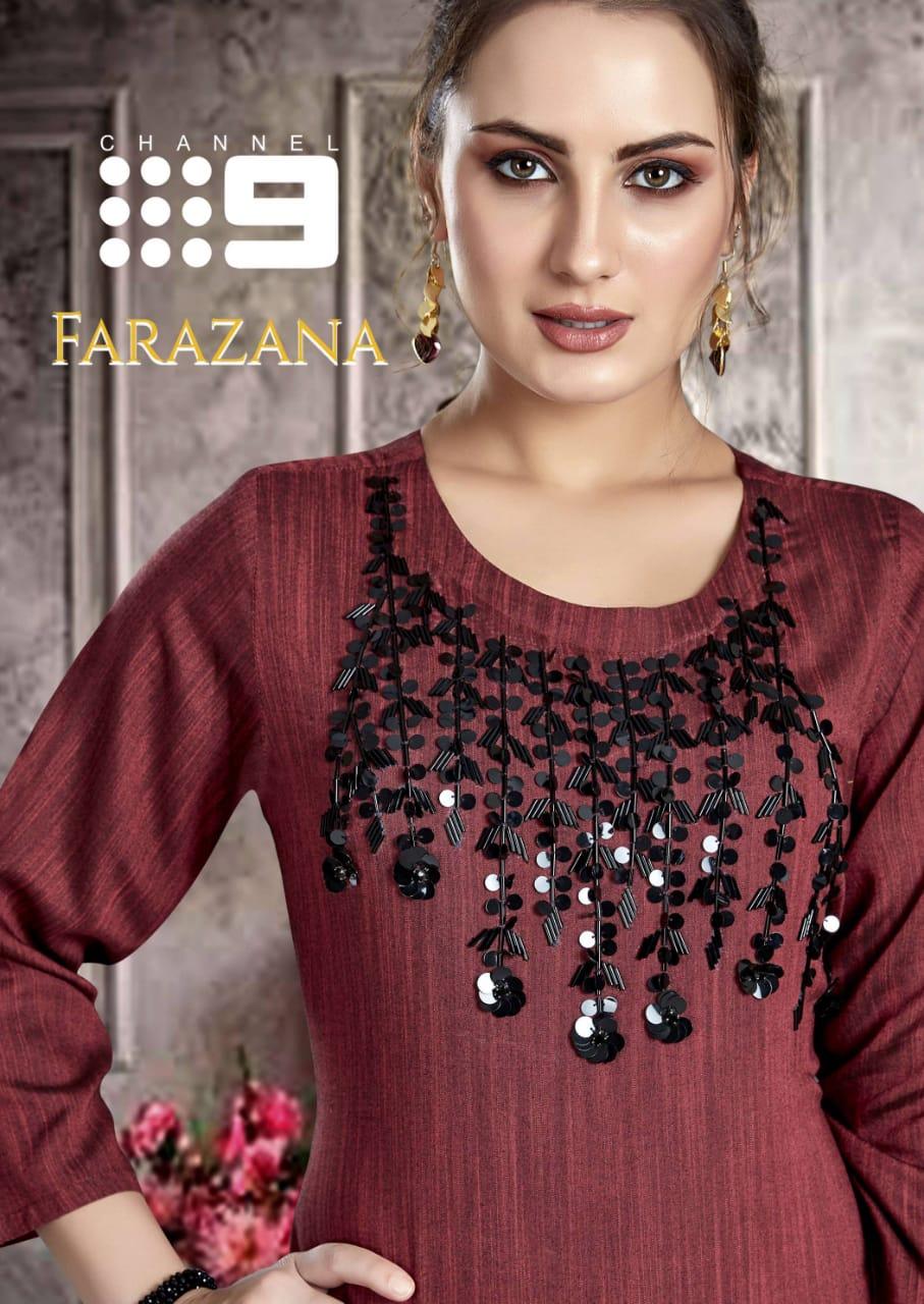 Channel 9 Farazana Rayon Fancy Handwork Kurtis Wholesale