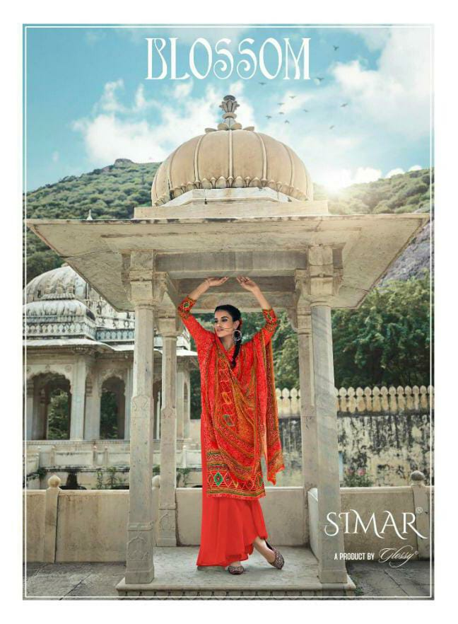 Glossy Blossom Designer Pure Jam Satin Digital Printed With Handwork Suits Wholesale