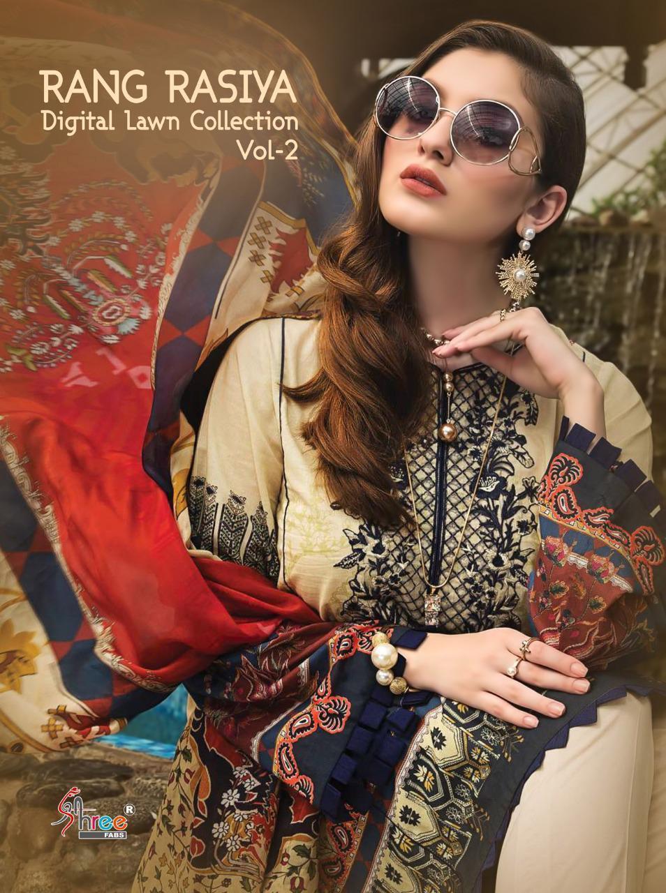 Shree Fab Rangrasiya Digital Lawn Collection Vol 2 Designer Jam Cotton Digital Printed With Embroidery Work Suits Wholesale