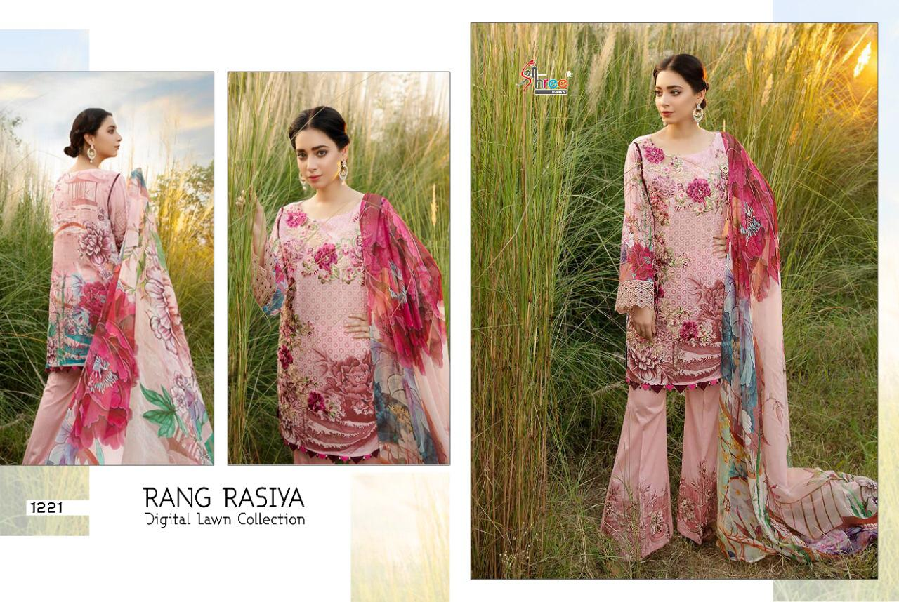 Shree Fab Rangrasiya Digital Lawn Collection Vol 2 Hit Design Jam Cotton Digital Printed With Embroidery Work Suits Single