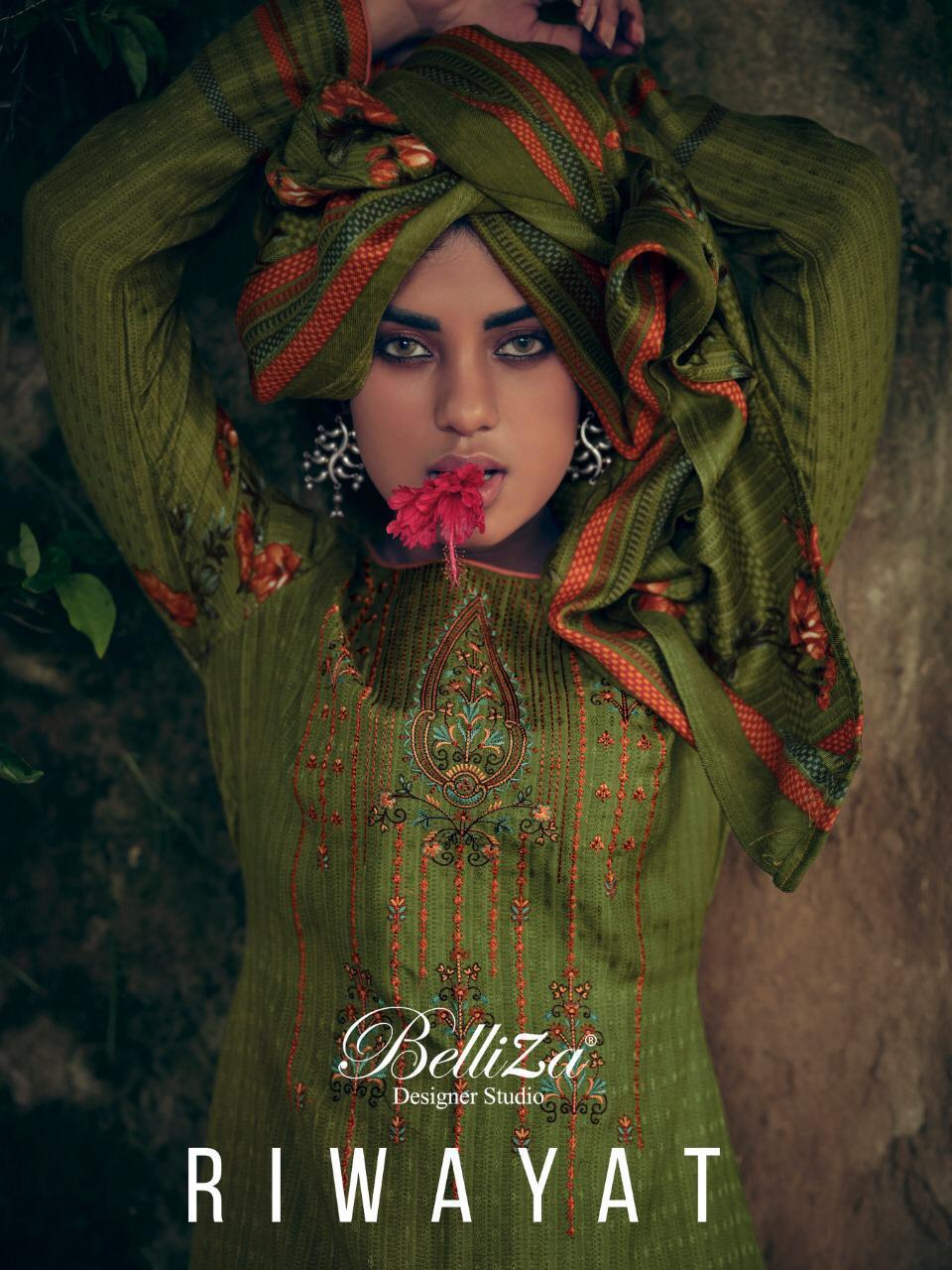 Belliza Riwayat Designer Pashmina Digital Style Printed With Kahshmiri Embroidery Work Suits Wholesale