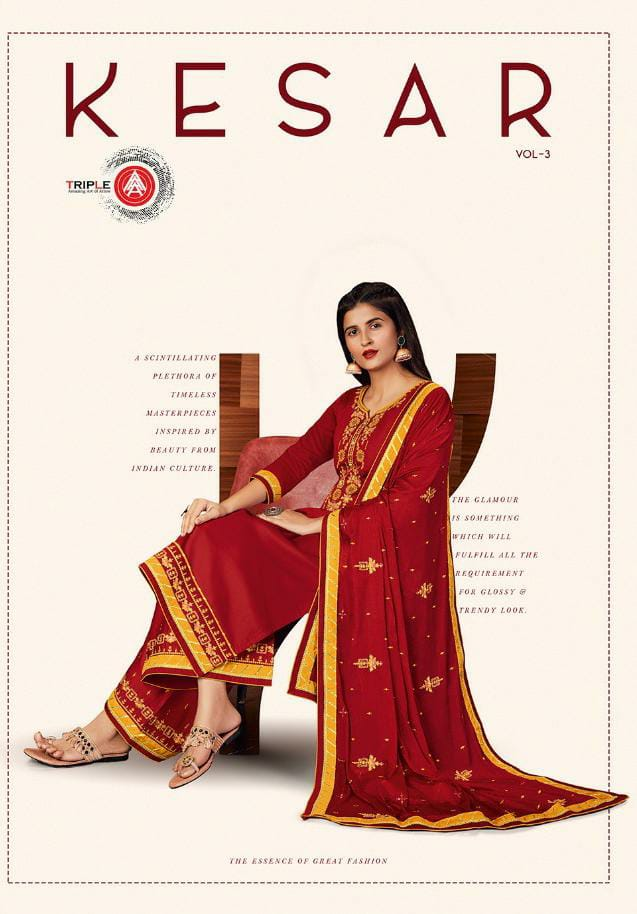 Tripal Aaa Kesar Vol 3 Designer Jam Silk Embroidery Work Suits Wholesale