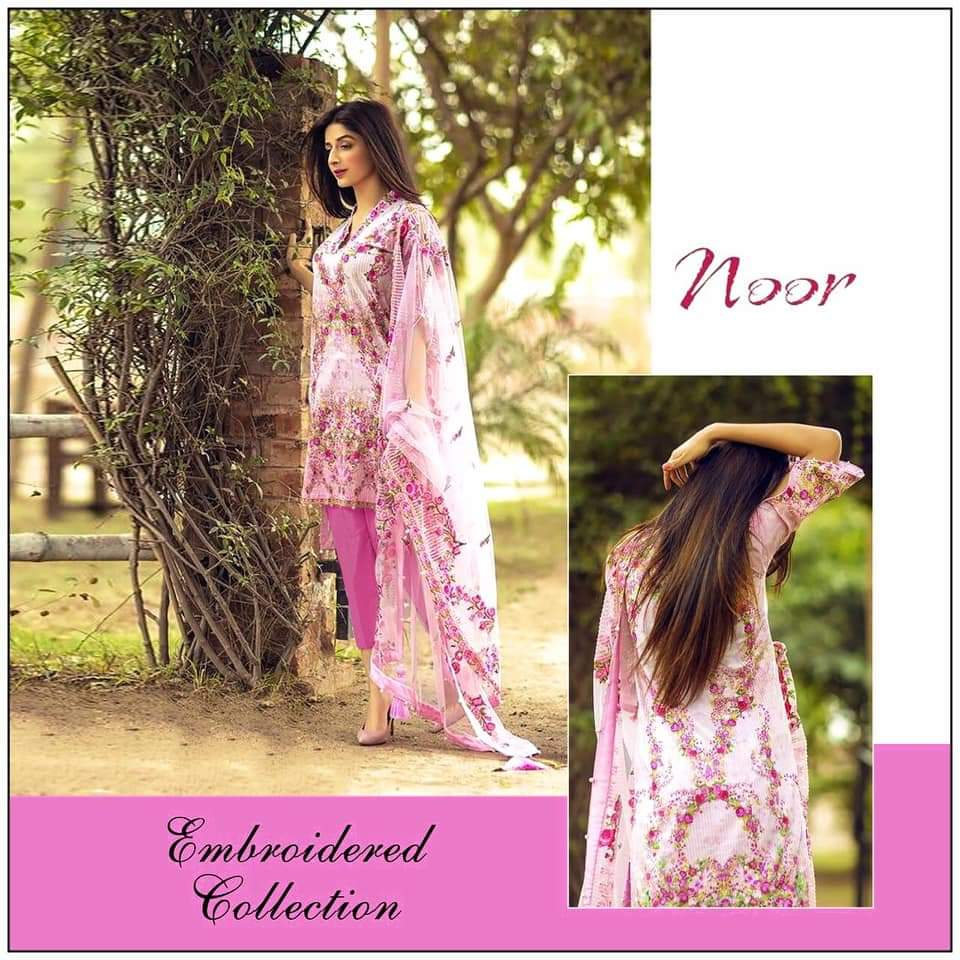 Noor Pink Super Hot Design Glace Cotton With Embroidery And Bunch Patches