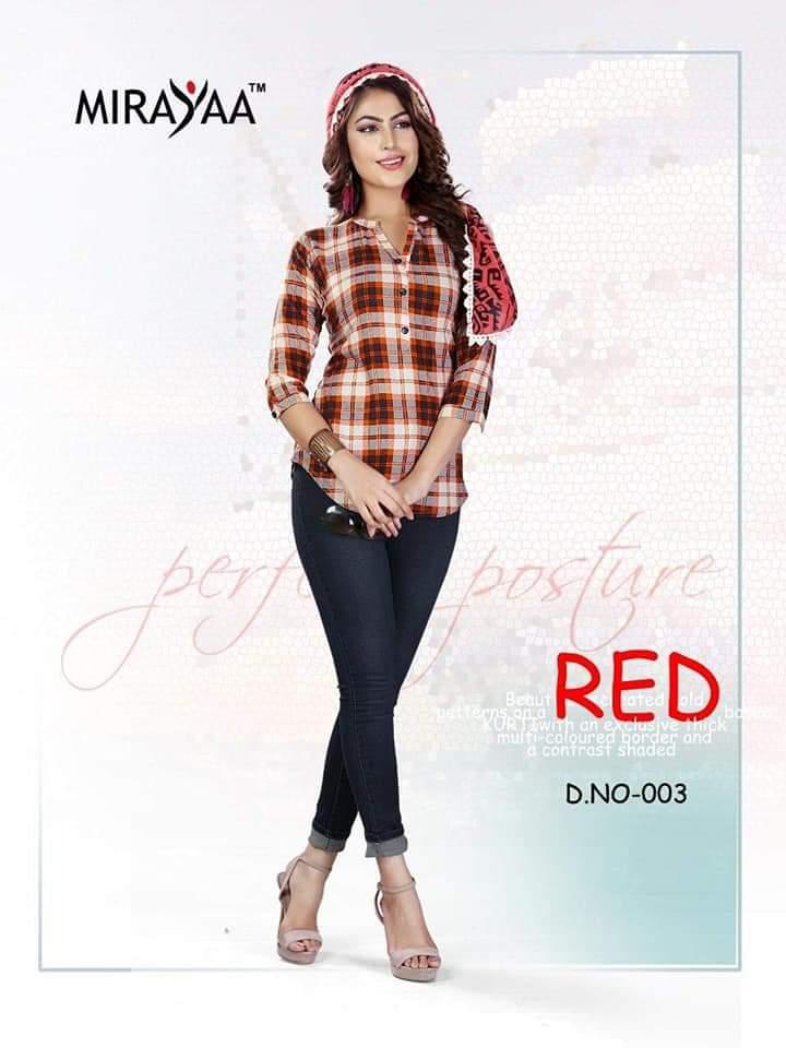 Mirayaa Tip Top Designer Rayon Checks Printed Top In Singles