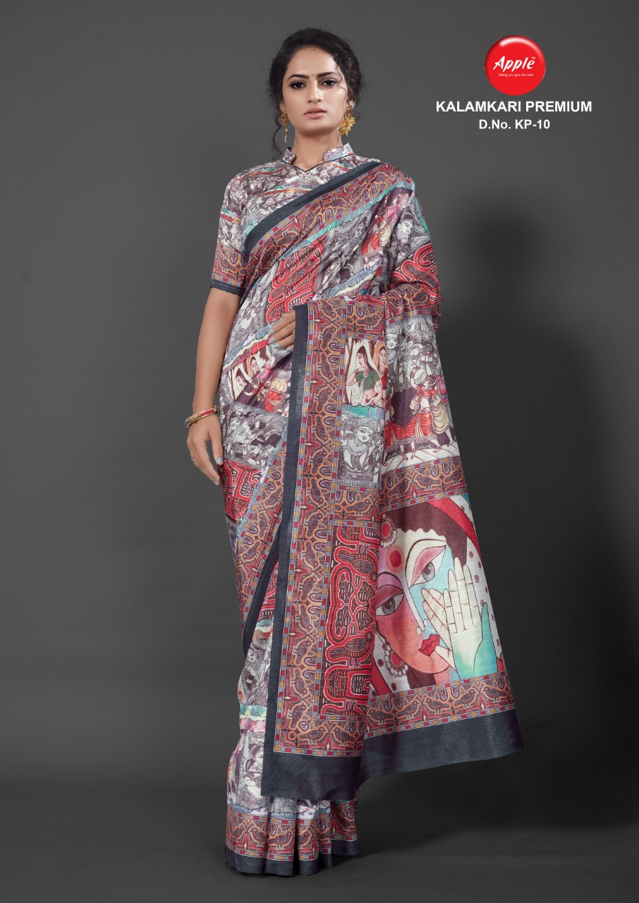 Apple Kalamkari Premium Designer Bhagalpuri Silk Digital Printed Saree Wholesale