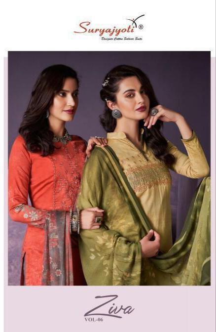 Suryajoti Ziva Vol 6 Satin Cotton With Embroidery Work Suits Wholesale