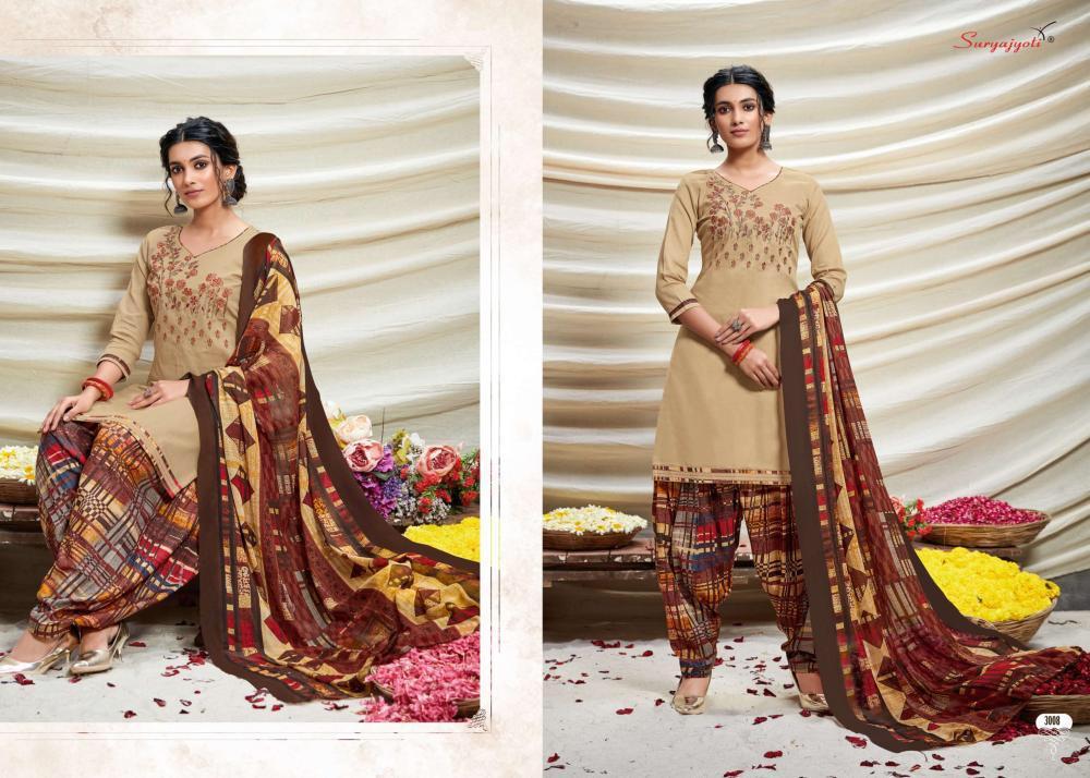 Suryajoti Patiyala Express Vol 3 Designer Cotton Printed Neck Embroiderd Suits Wholesale