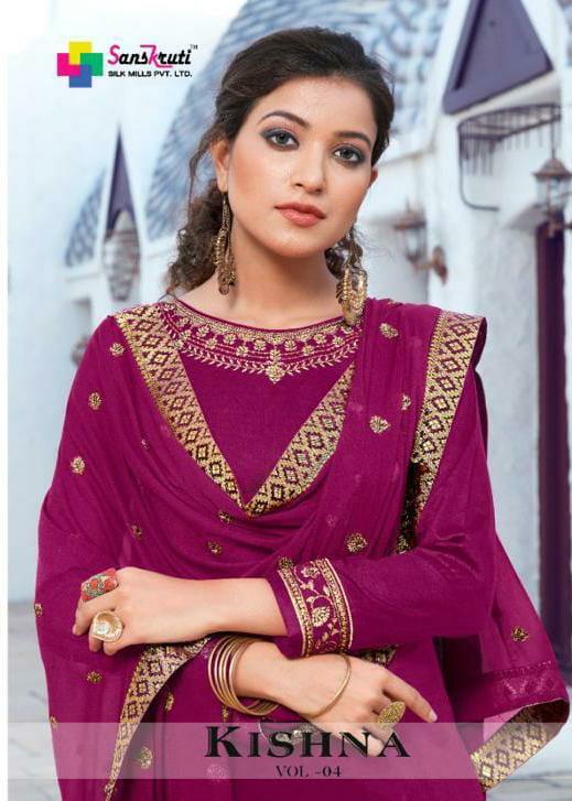 Sanskruti Silk Mills Kishana 4 Designer Jam Silk With Heavy Embroidery Work Occasional Wear Suits Wholesale