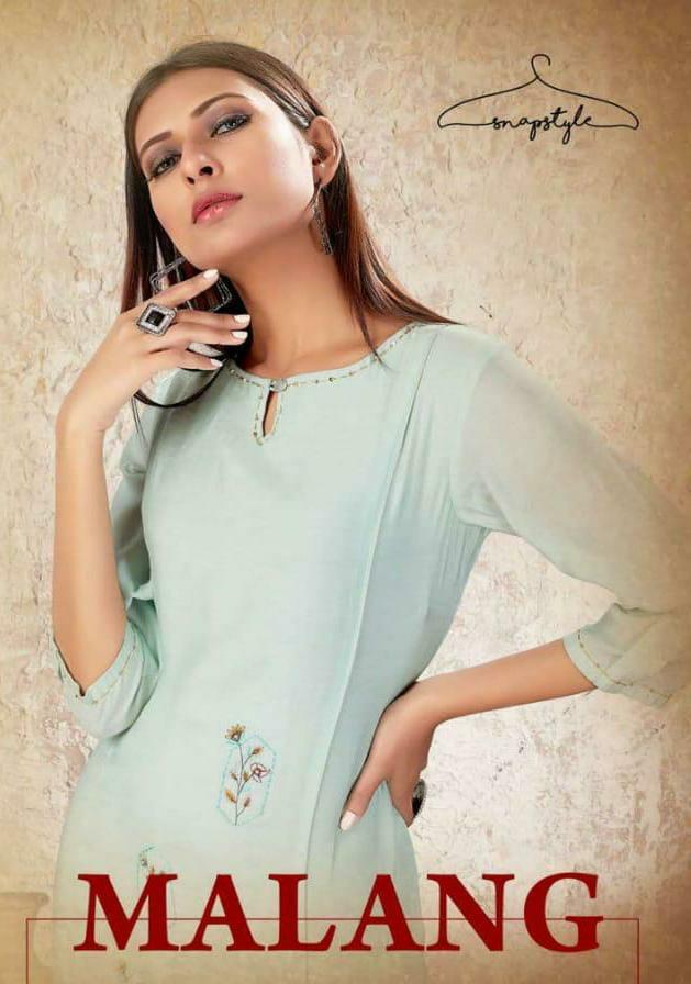 Snapstyle Malang Viscose Muslin Straight Embroidery Work Kurti With Plazzo Wholesale