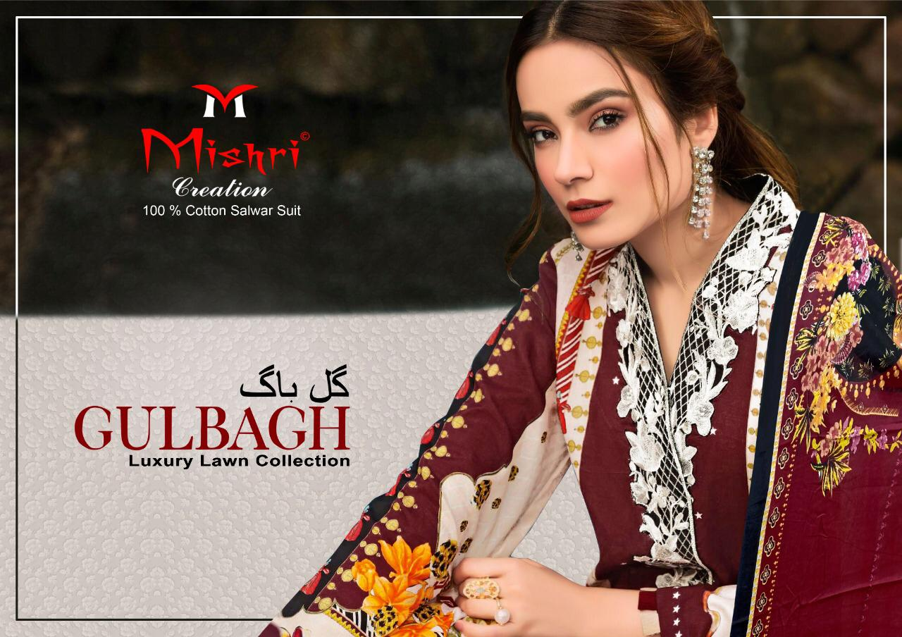 Mishri Creation Gulbagh Designer Luxury Lawn Collection Printed Lawn Suits Wholesale