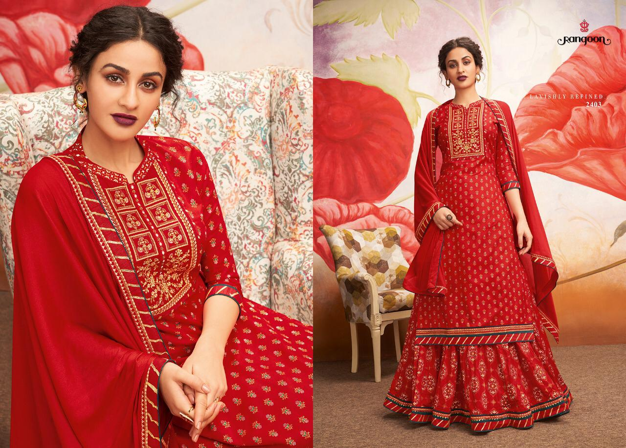 Rangoon Natraj Hit Design Heavy Embroidery Partywear Stitch Lehenga Suit In Single