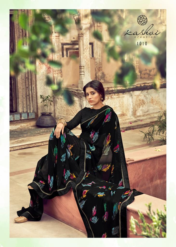 Kashvi Creation Orchid Designer Georgette Printed Sarees Wholesale