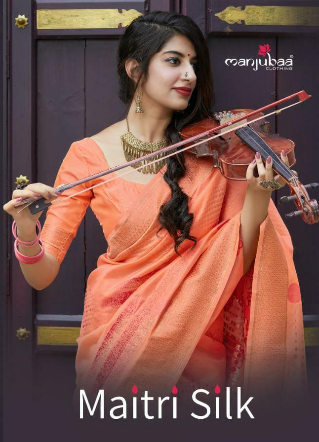 Manjubaa Maitri Silk Designer Rich Pallu Partywear Sarees Wholesale