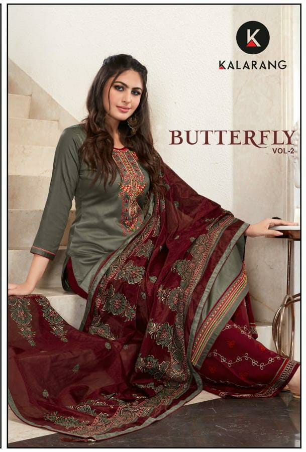 Kalarang Butterfly Vol 2 Designer Jam Silk With Embroidery Work Suits Wholesale
