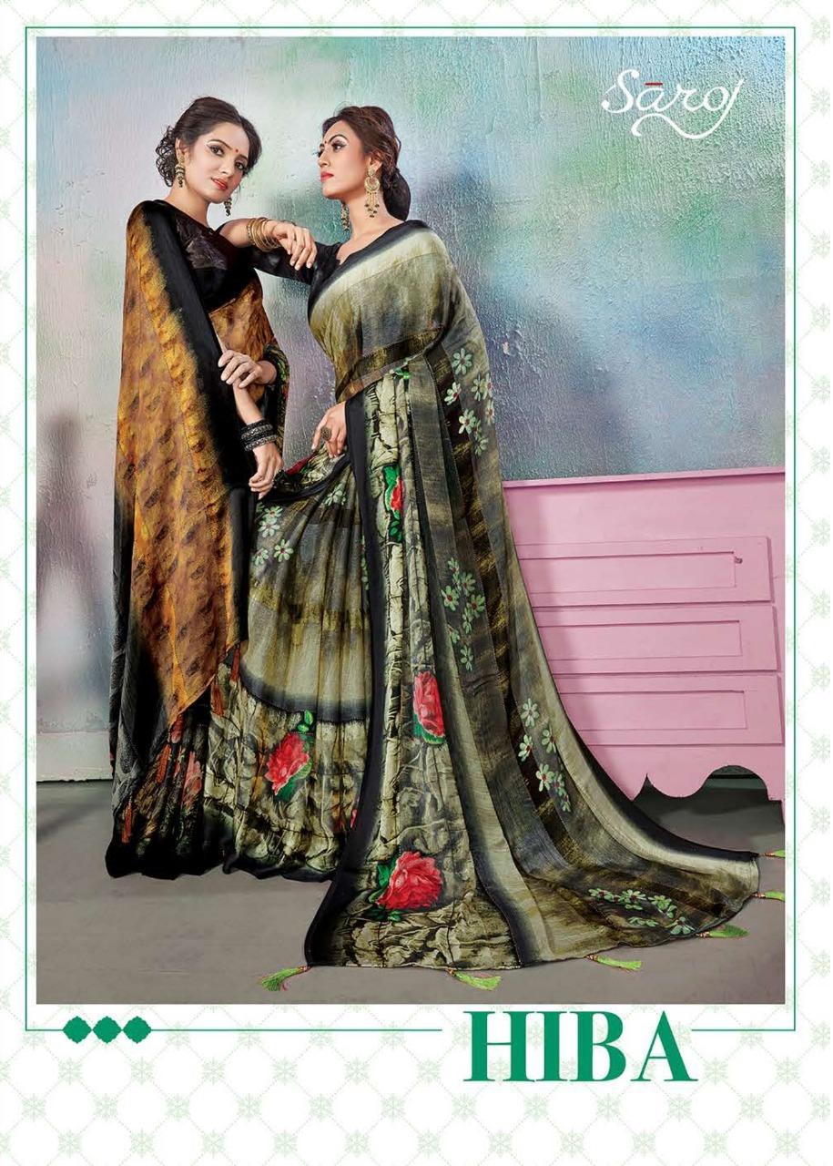 Saroj Hiba Designer Satin Patta With Swarovski Work Sarees Wholesale